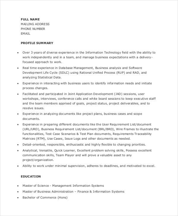 junior business analyst resume