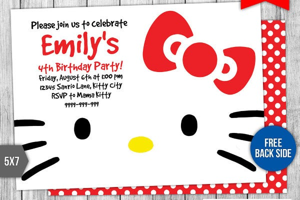 Birthday Card Templates Free Premium Templates - Free hello kitty birthday invitation templates