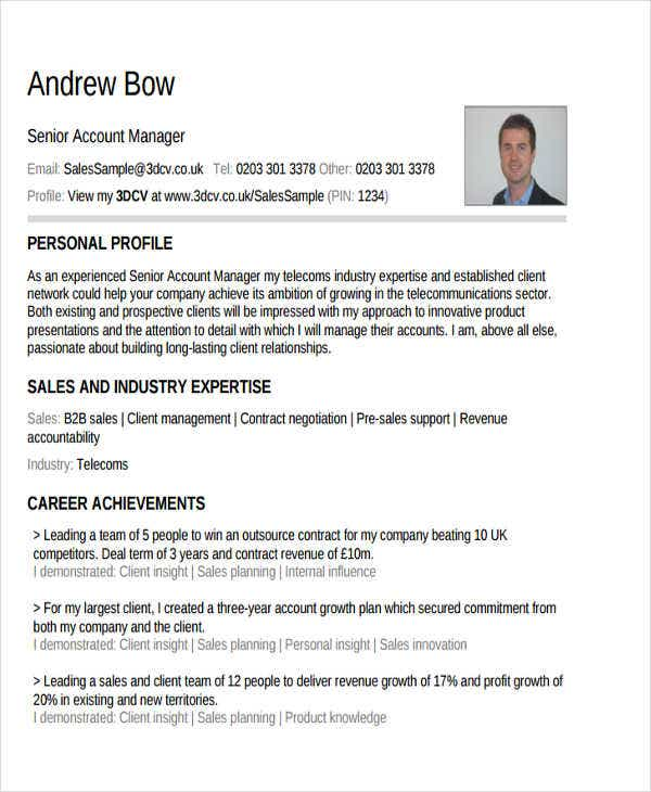 senior account manager resume