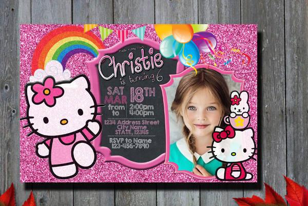 -Hello Kitty Birthday Invitation Card