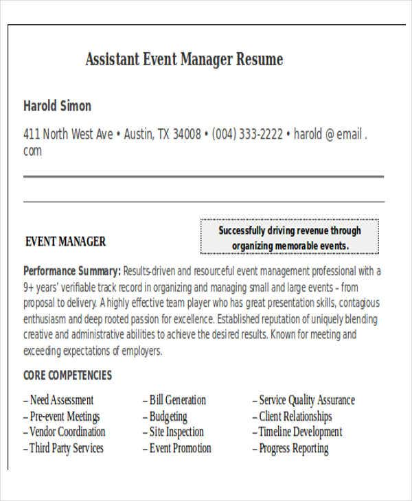 assistant event manager resume coverlettersandresumecom - Event Manager Resume