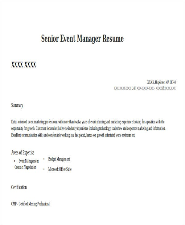 senior event manager resumeslivecareercom