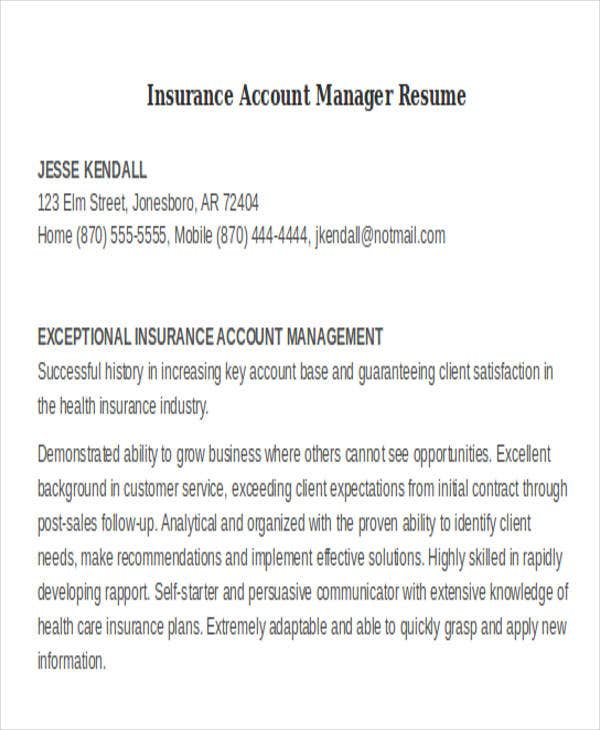 inside sales account manager resume sample pdf insurance examples