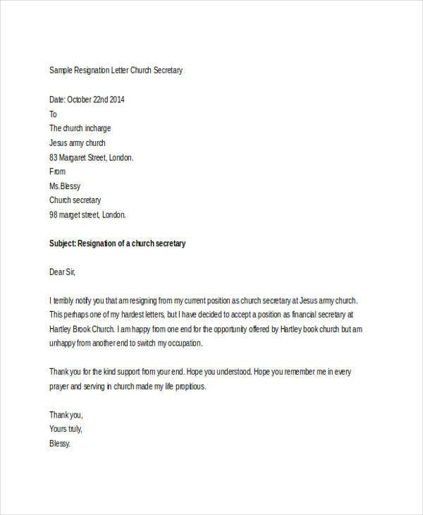 Sample Letter Of Resignation From Church Position