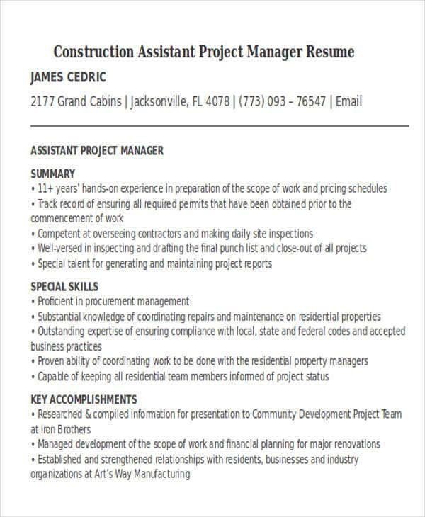 Construction Assistant Project Manager Resume  Project Manager Construction Resume