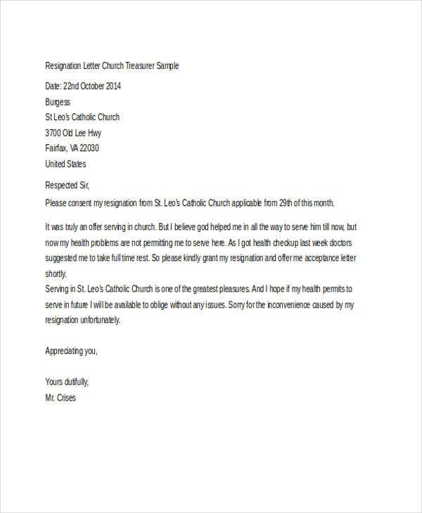 church treasurer resignation letter