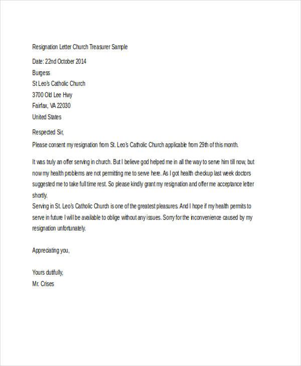 Sample Pastor Resignation Letter
