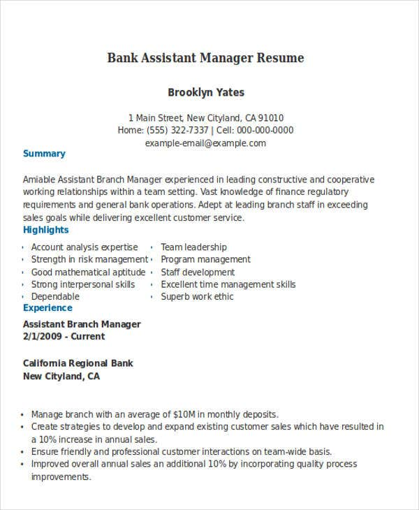 bank assistant manager. Resume Example. Resume CV Cover Letter