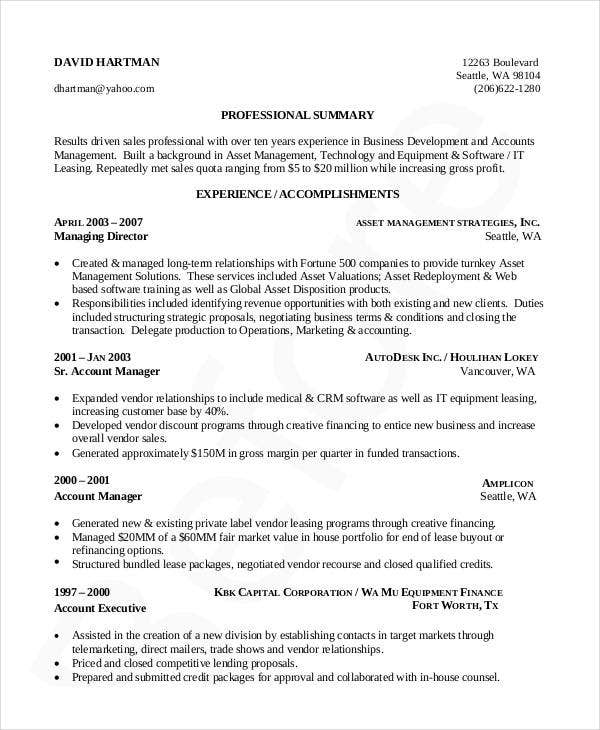 Business Development And Account Management Resume  Professional Business Resume Template