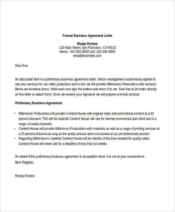 Awesome Business Agreement Letter Sample Graphics  Complete