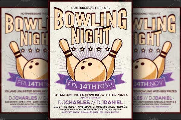 retro bowling event flyer