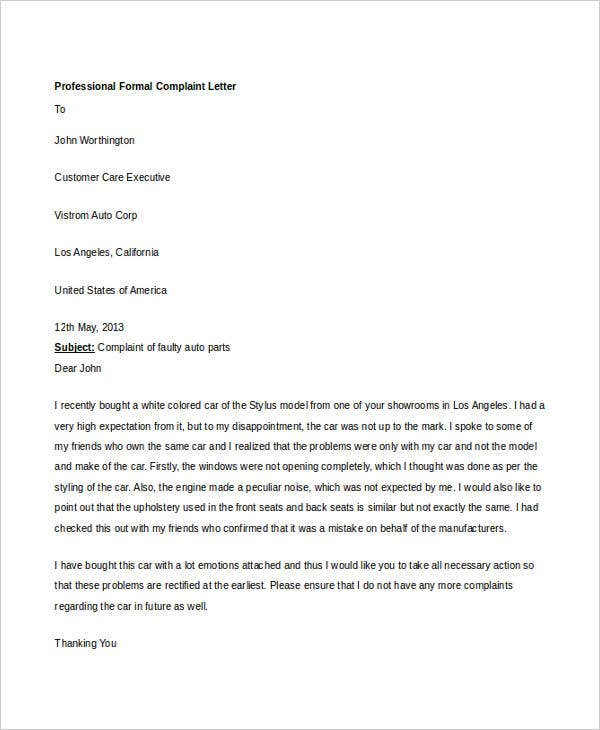 professional formal complaint letter1
