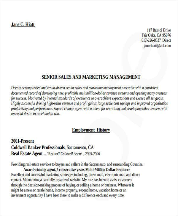 senior marketing manager resume