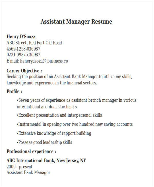 assistant manager sample - Assistant Manager Sample Resume