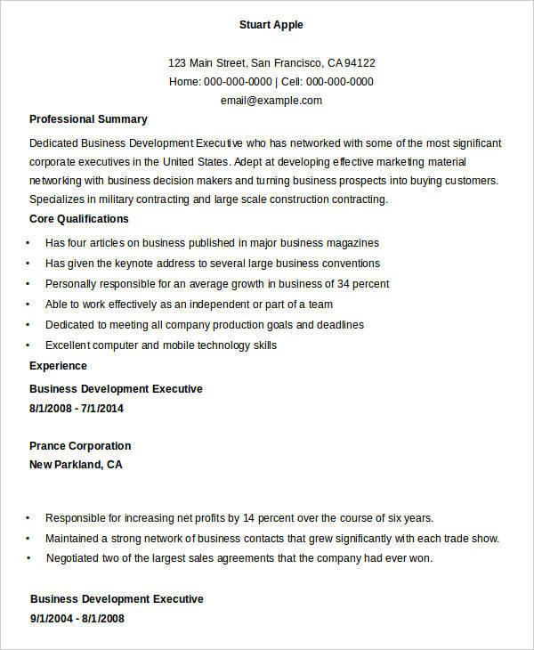 Business Development Executive Resume