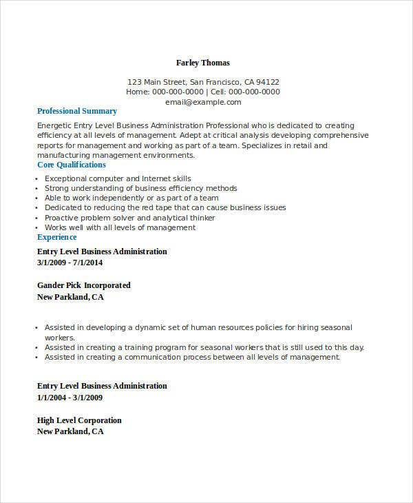 entry level business administration resume bachelor sample traineeship free templates
