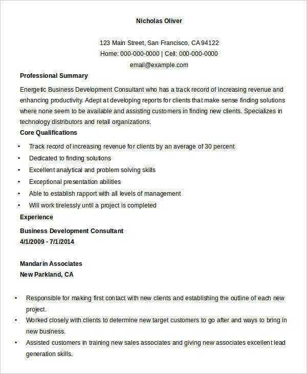Business Development Consultant Resume