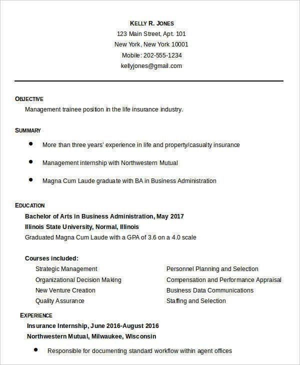 sample business administration resume1