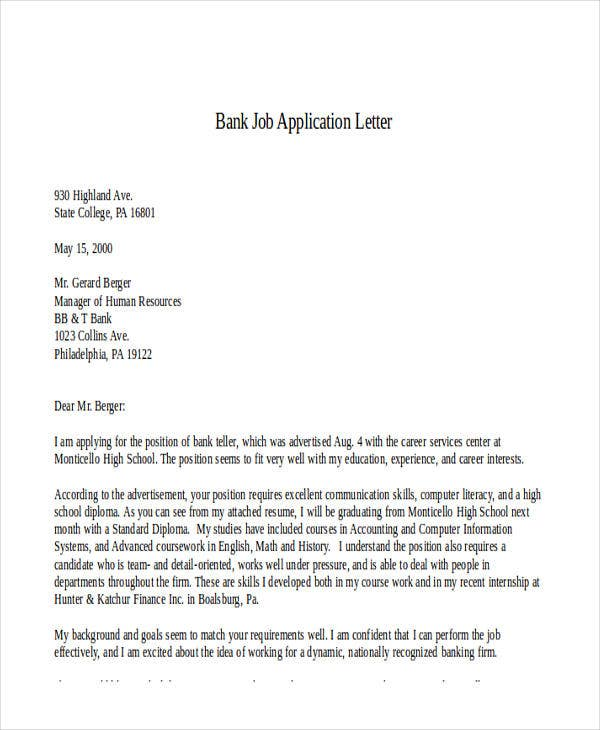 bank job application letter5