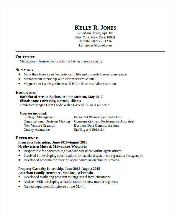bachelor business administration resume sample objective example management