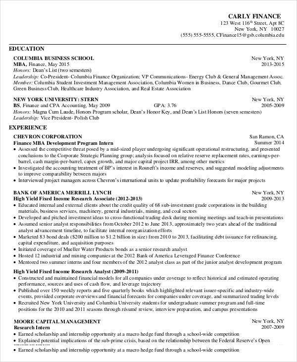 Business School Resume Example