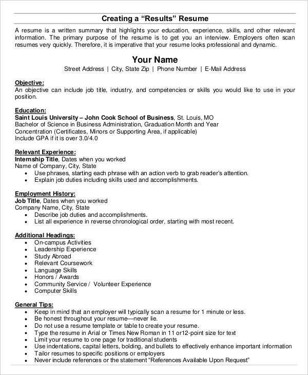 Resume For Business Students