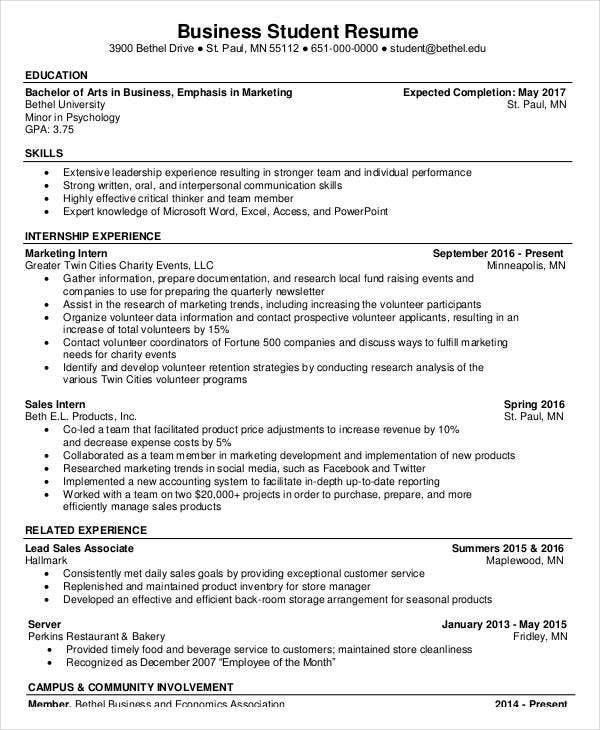 Marvelous Business Student Resume And Business Student Resume
