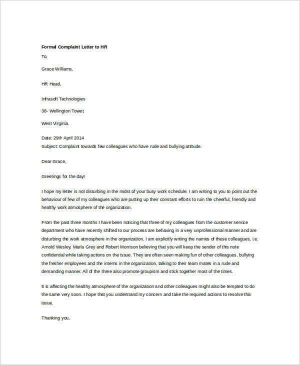 formal complaint letter to hr6