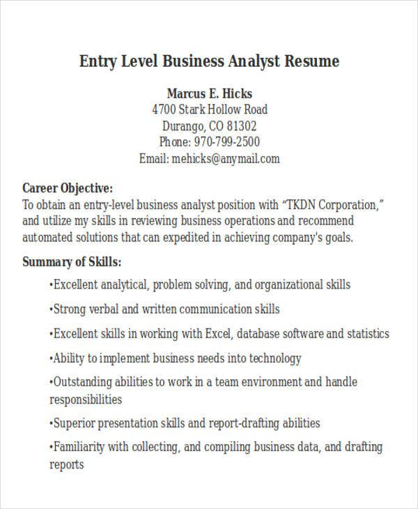entry level business analyst resume sample1