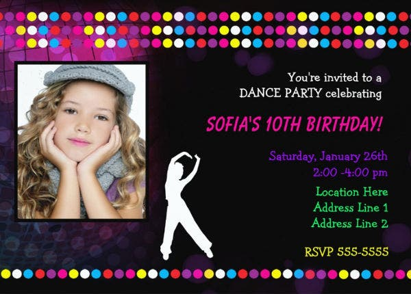 -Dance Party Invitation Card
