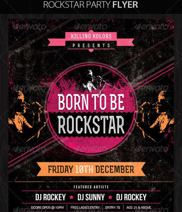 Rockstar Retro Party Flyer