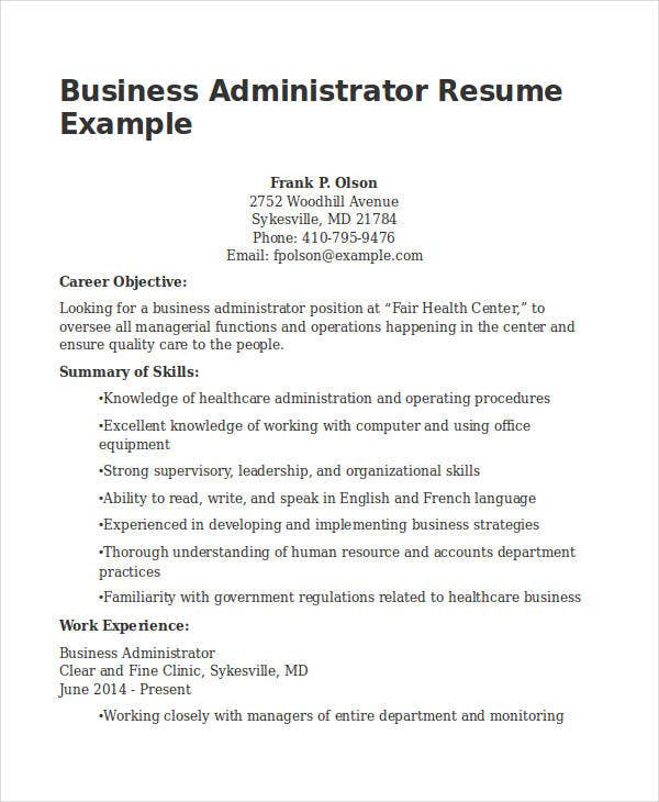 business administration resume example
