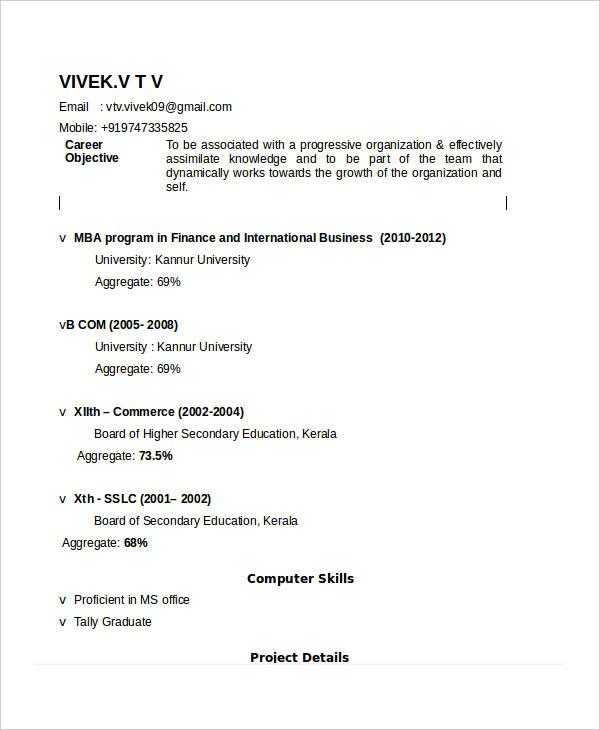 mba international business resume