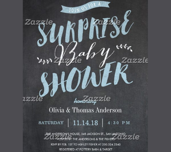 -Surprise Baby Shower Invitation Card