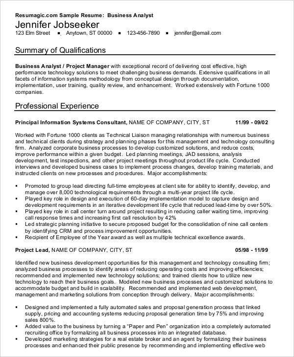 best business resume sample