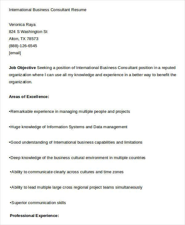 international business consultant international business consultant resume - International Business Resume Objective