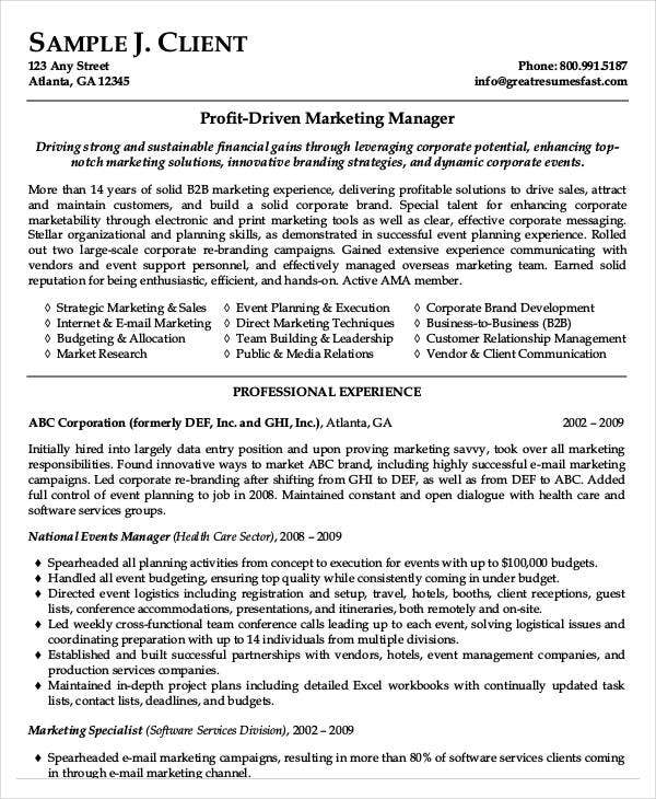 business marketing manager resume sample
