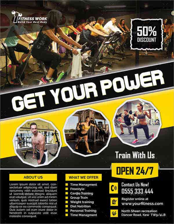 fitness gym equipment flyer