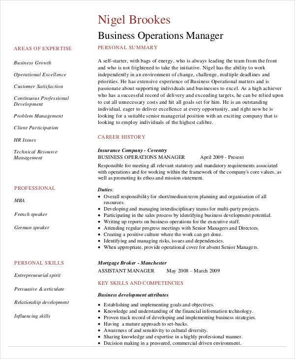 business operations resume