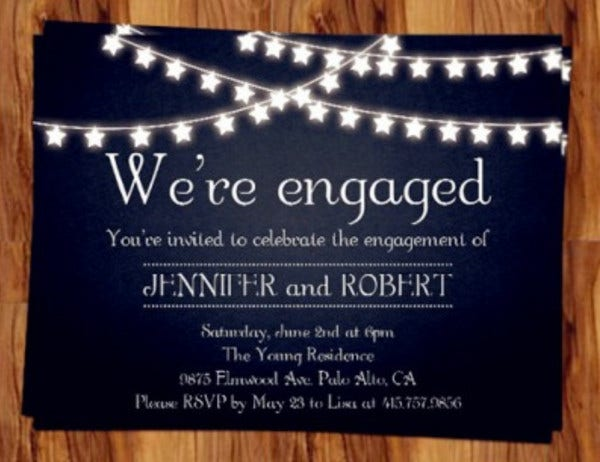 rustic engagement invitation card
