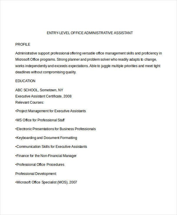 50 Administration Resume Samples Pdf Doc Free