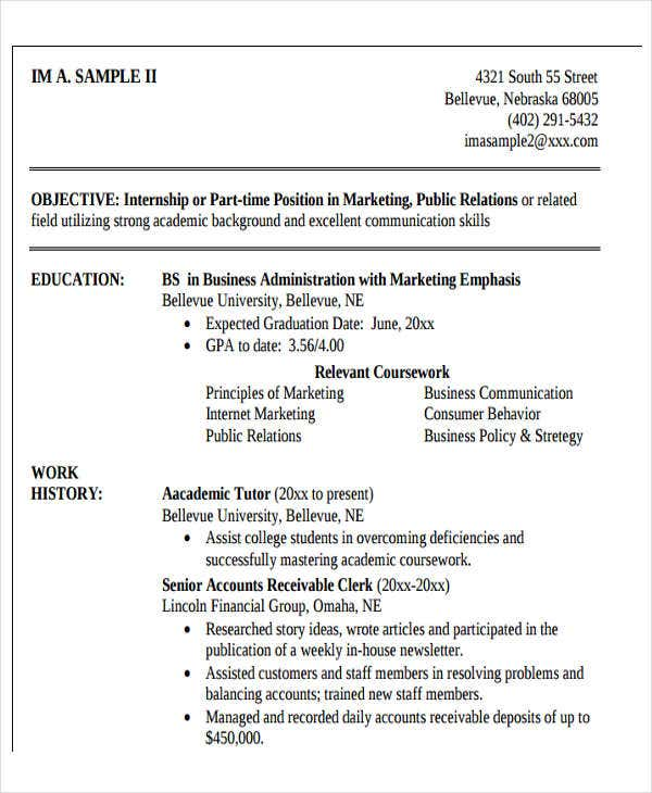 sample professional business resume