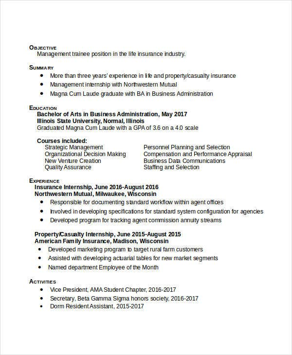 business administration objective resume example sample bachelor professional