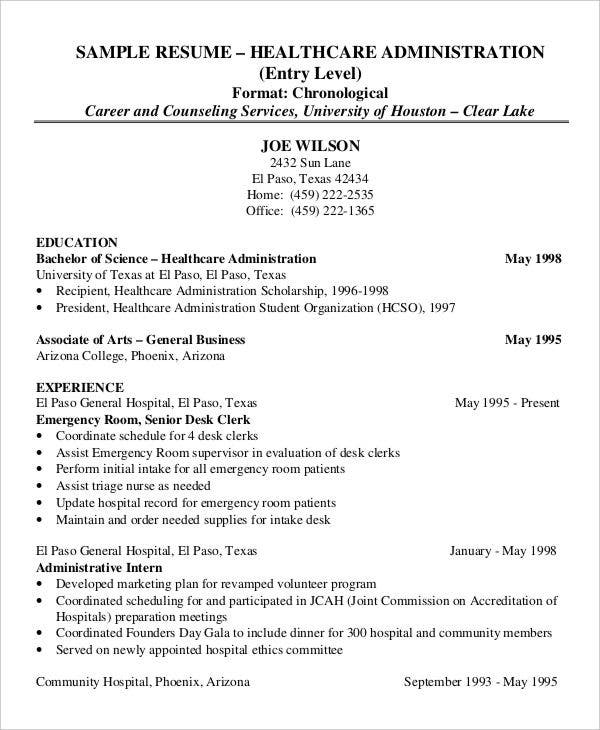 healthcare administration student resume - Administrative Resume Samples