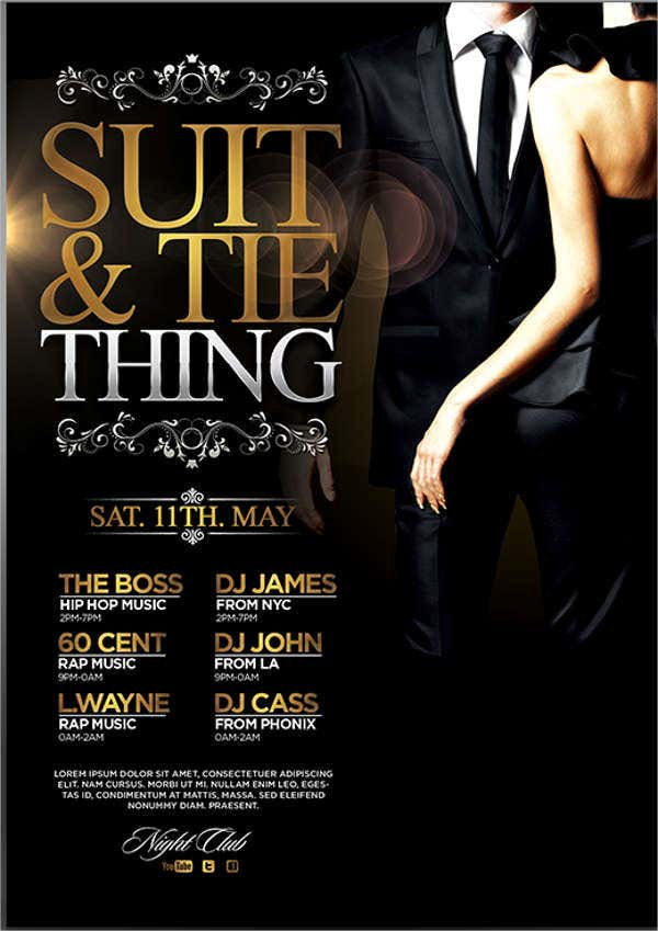 black tie club event flyer
