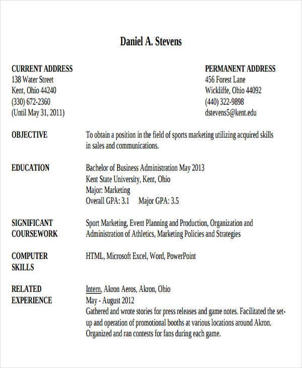 business administration resume sample1