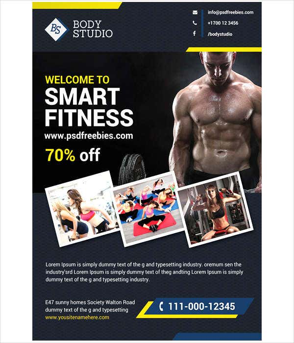 fitness club psd flyer