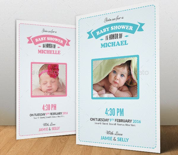baby shower photo invitation card