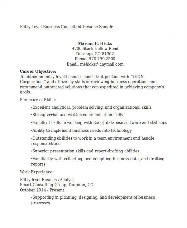 Resume How To Entry Level