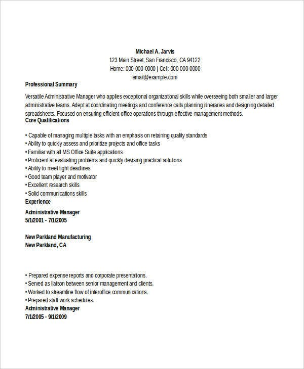 29 administration resume samples pdf doc free premium templates